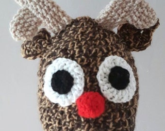 Reindeer Hat: Christmas-Reindeer-Red Nose-Rudolph-Antlers-Hat-Animal Hat-Christmas Hat-Rudolph Hat- Made to Order- Eight Pounds-Child-Adult