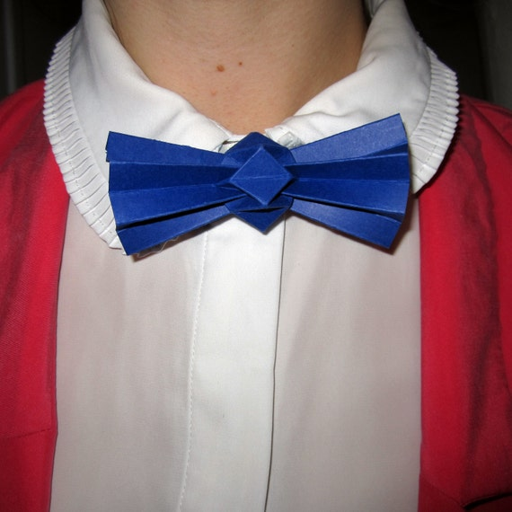 Items similar to blue origami bow tie on Etsy - photo#17