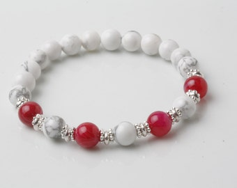 Pink Tourmaline bracelet, pink and white howlite yoga bracelet, gift for her, pink stone bracelet, stretch bracelet, tourmaline jewelry