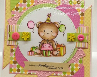 Birthday Teddy Digital Stamps By Sasayaki Glitter