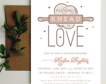 Kitchen Bridal Shower Invitation | Kitchen Shower Invite | Red Kitchen Shower | Hearts Shower | Printable Invite | Printable Invitation