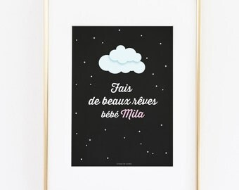Children's room decoration poster baby House poster personalized with first name of the child good night sweet dreams baby