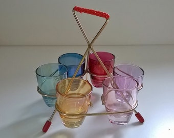 Vintage 6 shot glasses with stand atomic 1960s