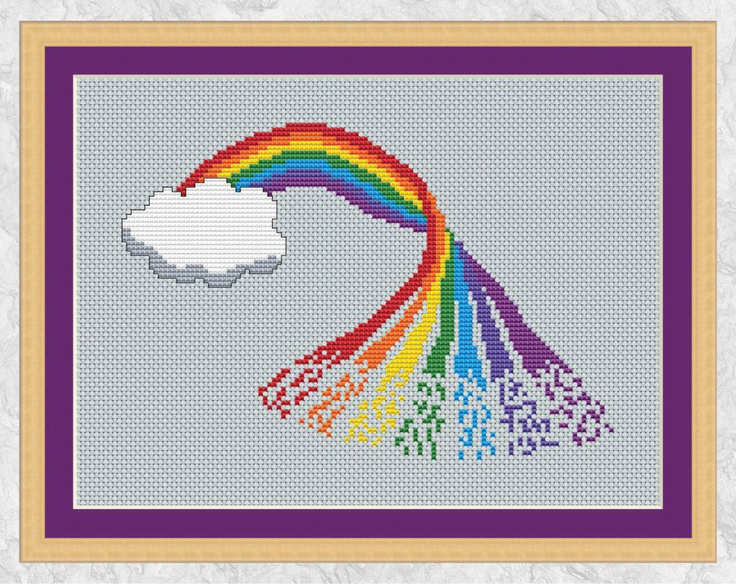 Rainbow Cross Stitch Pattern Printable, Counted Cross
