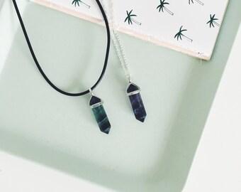 Multicoloured Fluorite Pendant Necklace