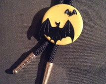 Artisan Enamel Bats And The Moon Motif Vintage Bolo