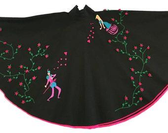 1950s Novelty Juli Lynne Charlot Romeo and Juliette Felt Circle Skirt