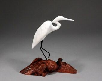 Egret Sculpture New Direct from John Perry on Burl Wood Medium