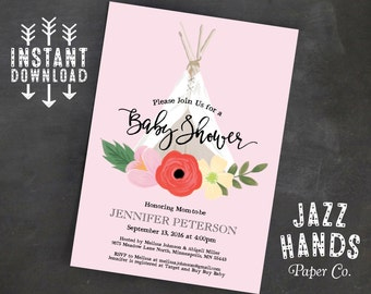 TeePee Boho Chic Baby Shower Invitation Template   Baby Girl   Tee Pee Baby Shower   Boho Baby Shower   Rustic Floral   Pink