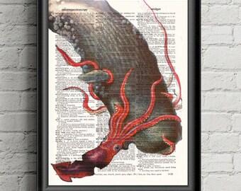Giant Octopus Whale Print-  Octopus Decor- Whale Art-  Sea Life Decor- Nautical Decor- Bathroom Decor- Boyfriend Gift For Him