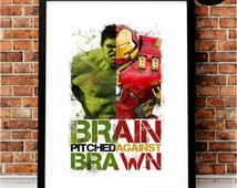 Hulk v Hulkbuster Art Print, Marvel Superhero Inspired, Quote, Avengers Art, Civil War, Iron Man, Incredible Hulk