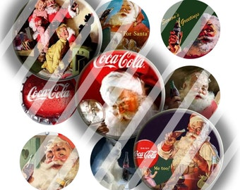 Digital Bottle Cap Collage Sheet - Christmas 12 - 1 Inch Circles Digital Images for Bottlecaps