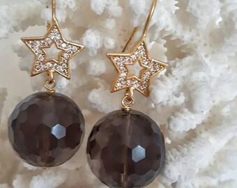 Gemstone earrings smoky quartz and cubic zirconia star