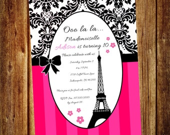 Paris Eiffel Tower Birthday Invitation