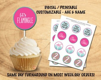 LET'S FLAMINGLE CUPCAKE Toppers | Flamingo Party Decor | Flamingo Cupcake Toppers | Flamingle Birthday