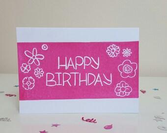 Happy Birthday Flowers Hand printed Lino Cut Birthday Card