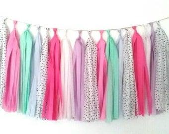 Dots, pinks, lilac and mint tassel garland - girls room decor - girls party - nursery decor - wall decor - table decor - room decor