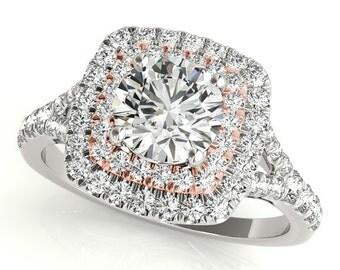 Halo Engagement Ring, Diamond Halo Ring, Diamond Halo Engagement Ring,Double Halo Diamond Ring,Two Tone Engagement Ring