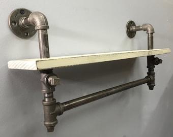 Rustic Shelf w/ Industrial Iron Pipe Towel Bar Book shelf