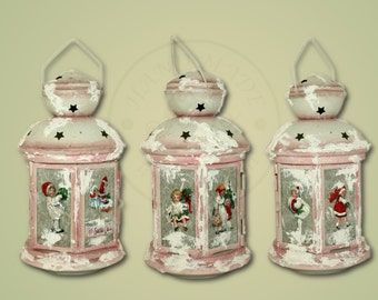 The Christmas candle holder with children, the Christmas decoration, home decoration, Christmas lantern with the children in 3d