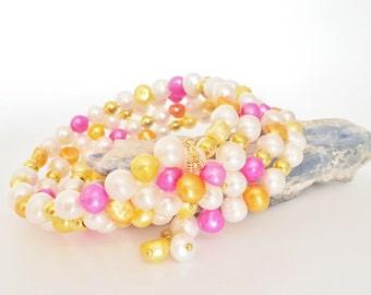Freshwater Pearls Gold Plated Memory Wire Bracelet. Spring Bracelet. Gold Bracelet. Bangle. Yellow, Orange and Pink Freshwater Pearls.