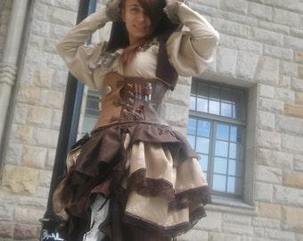 Custom made leather underbust corset steampunk alchemist witch