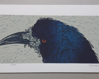 The Blue Crow, 5 Colour Linoprint, Limited Edition of 14, 2014 (only a few left)