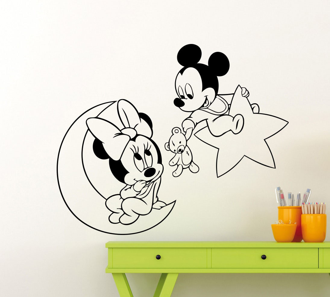 Mickey minnie mouse wall sticker moon stars toy cute cartoon - Stickers etoile chambre bebe ...
