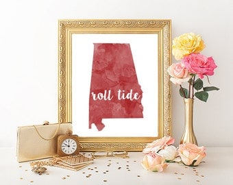 University of Alabama Roll Tide Watercolor Printable (8x10)