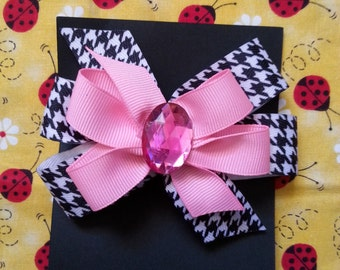 Pink and Houndstooth Hairbow