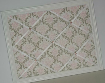 Madison Pink, White & Taupe Damask fabric ~ Framed Memo Board