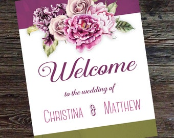 Welcome Sign Printable Wedding Reception Sign Floral Welcome Sign Printable Welcome Sign Rustic Fucshia & Moss Wedding Welcome Sign