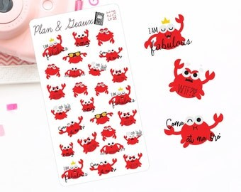 Crabby Emotions Planner Stickers, Emotional Crabs Planner Stickers, Crab Planner Stickers, Happy Planner Stickers