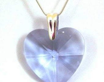 "Swarovski Crystal Violet 6202 Heart Pendant 18mm, 28mm, 40mm, on Sterling Silver 18"" Chain"
