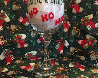 Santa's little ho ho ho wine glass