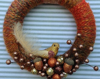 Bird Wreath, Yarn Bird Wreath, Woodland Bird Wreath, Fall Bird Wreath, Woodland Wreath, Rustic Bird Wreath, Rustic Wreath, Acorn Wreath