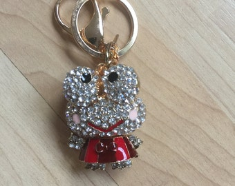 keroppi Keychain Purse Charm With Rhinestones Crystals Ship From NY