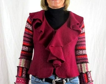 Recycled, Upcycled, Wool Ruffled SweaterJacket