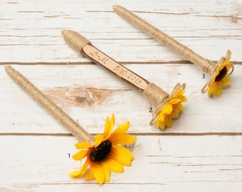 Rustic Pen Guest Book Sunflower Personalized Wedding Guestbook pen Burlap Sunflower Pens Wedding Decoration