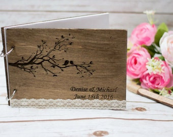 Rustic Guest Book Wooden Guestbook Love Birds Guest Book Love birds tree Custom Personalized Guest Book
