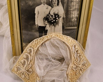 Art Deco beaded bridal veil