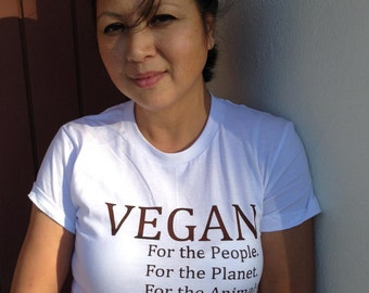 Vegan Tee Shirt -  Hand Screen Printed.