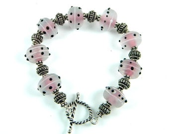 Sterling Silver Bracelet with Lampwork Beads, Handmade Jewelry