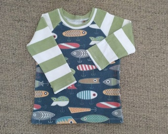 Organic Cotton - Gone Fishing Henley Style Top