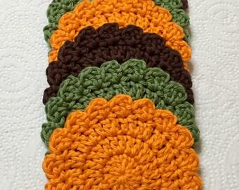 Crocheted Coasters, Autumn Coasters, Coaster Set of 6, Cup Coasters