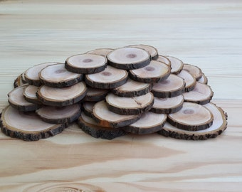 Set of plum slices, 47 slices, 47 wood slices, Set of 47 wooden slices