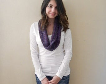 Hand Knit Cowl, Purple Cowl Scarf, Knitted Cowl