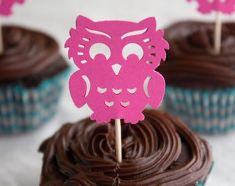 Pink Owl Cupcake Toppers, Owl Food Toppers, Owl Food Picks, Baby Shower, Girl Baby Shower (25 ct)