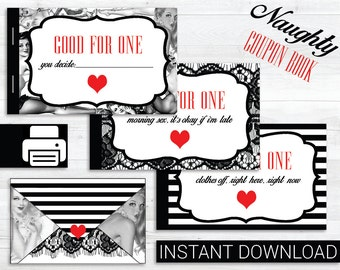 Printable Naughty Coupon Book . 16 Coupons . One Envelope // 1st Paper Anniversary // Valentines // Under 10 Dollars