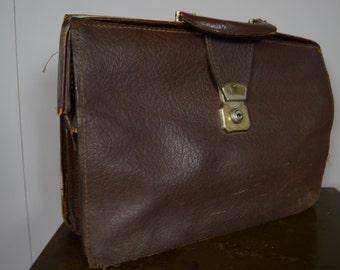 Vintage Retro Dark Brown Leather Briefcase Satchel Bag Manbag Doctors Bag